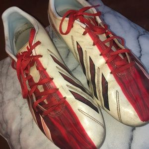 Red and White Adidas Messi Soccer Cleats